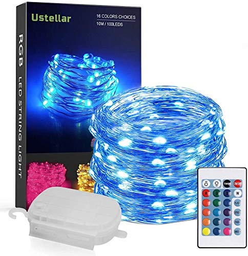 Ustellar 33ft RGB 100 LED Starry String Lights Waterproof Outdoor Color Changing Copper Wire Fairy Lights with Remote Battery Operated Multi Color Led Rope Tree Light Outside Christmas