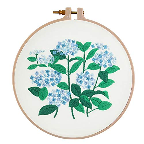 Embroidery Starter Kit with Pattern, Vodool DIY Cross Stitch Flower Stamped Embroidery Kit with Accessories (Hydrangea)