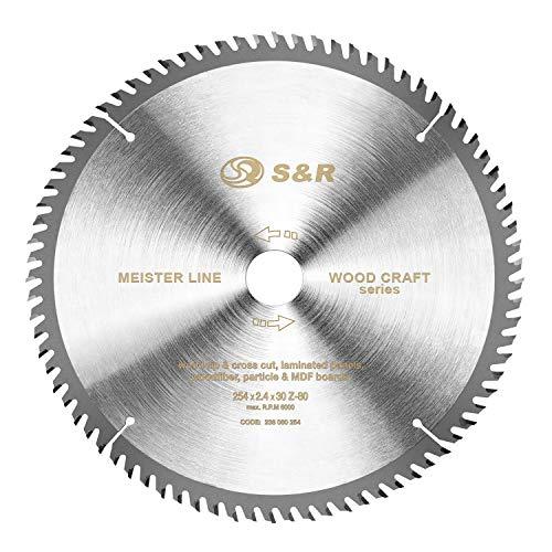 S&R Hoja de Sierra Circular Madera 254 x 30 mm 80 Dientes. Disco de Corte Madera. Calidad Profesional