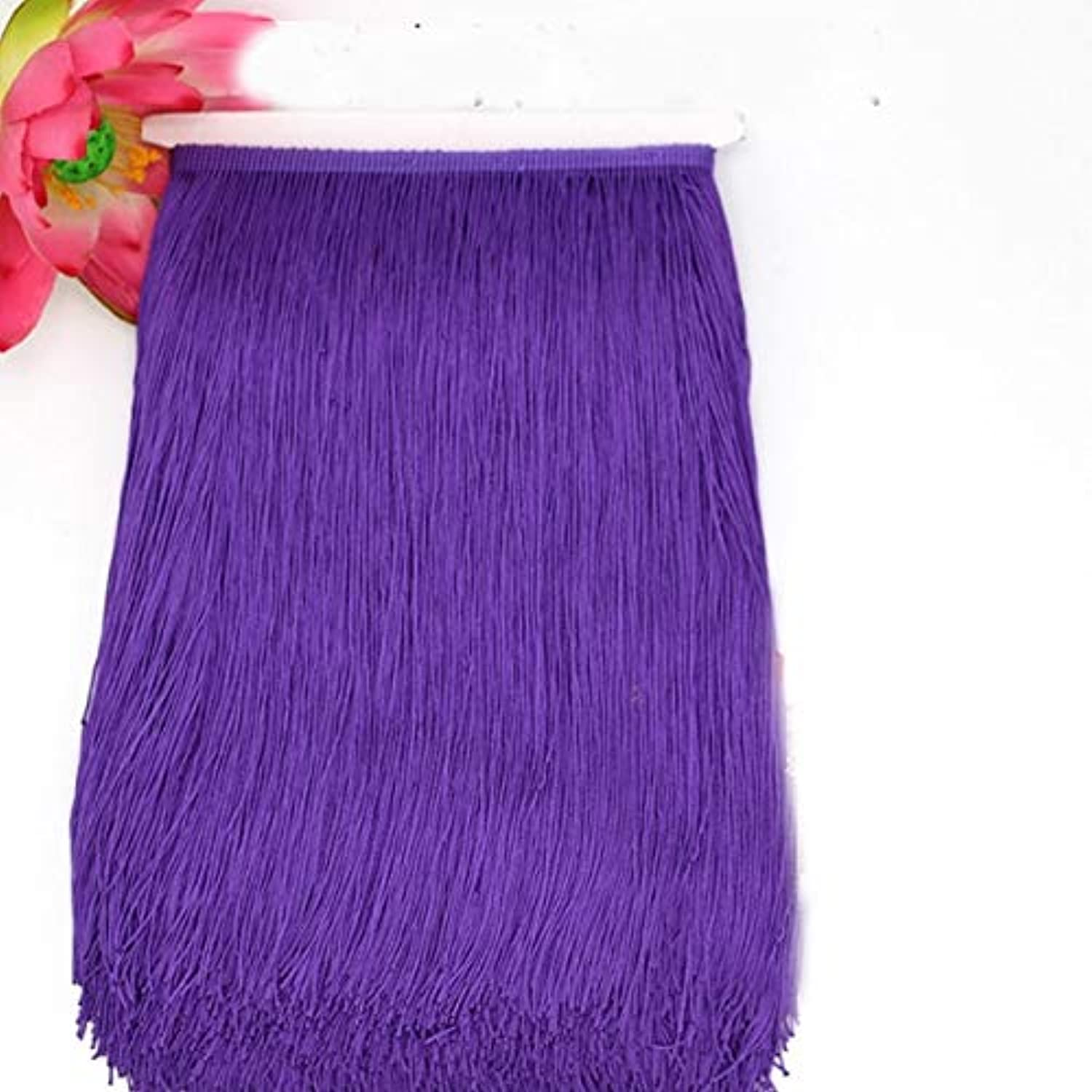 Laliva 10yard lot 30CM Polyester Tassel Lace Fringe Trimming Latin Dance Clothing Accessories DIY Curtain Decoration JK142 - (color  Purple)