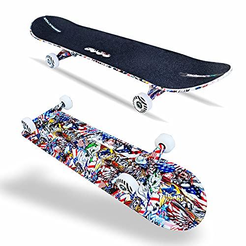 Jaspo Destructor Graffiti Fiber Composite Skateboard, Suitable for Age Group Above 8 Years, Multicolour, 31X8 Inches, 1 piece