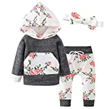 Pawzbay Baby Girls Clothes Long Sleeve Flowers Hoodie Tops and Pants Outfit Set with Pocket Headband (Grey, 6-12 Months)
