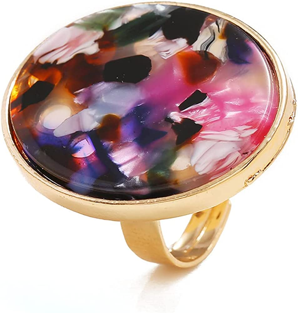 Boho Big Ranking TOP3 Round Acrylic Now on sale Statement Ring Plate for Girls Gold Women