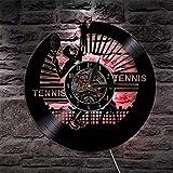 qweqweq LED Vinyl Schallplatte Wanduhr Tennis Betrieb