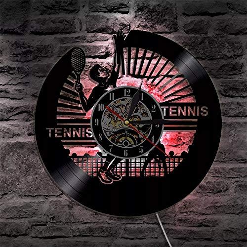 qweqweq Disco de Vinilo LED Reloj de Pared operación de Tenis Cambio de Color retroiluminación LED Control Remoto decoración del hogar Continua