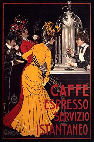 Caffe Espresso Servizio Instaneo - Vintage Italian Advertising Poster Reproduction (24 x 36)