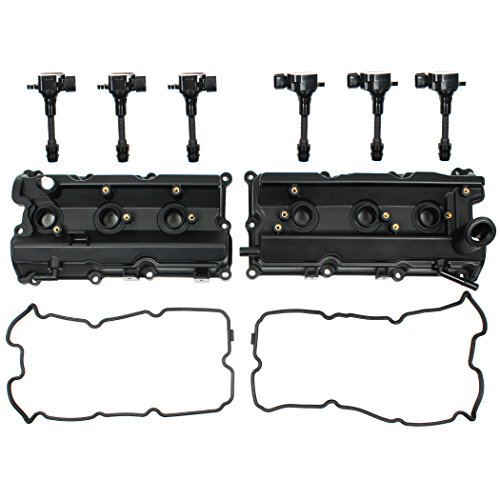 Left & Right Engine Valve Cover w/Gasket & Ignition Coil Set COMPATIBLE WITH Nissan 350Z Infiniti FX35 G35 M35 3.5L DOHC