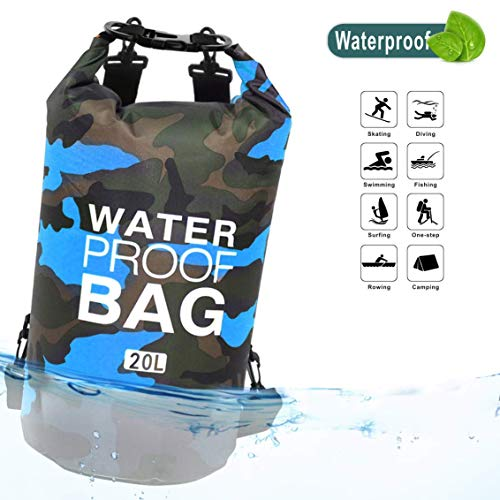 SUMER Waterproof Dry Bag, Floating Dry Backpack Beach Borsa Leggera Dry Sack per Spiaggia, Canottaggio, Pesca, Kayak, Nuoto, Rafting, Camping10L 20L,Blue,10L