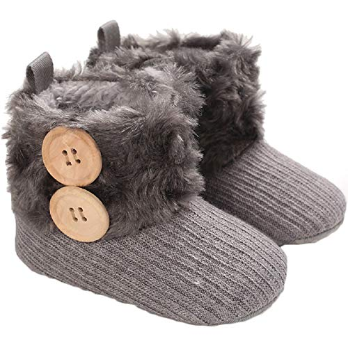 Infant Boots Winter Baby Girl Shoes Soft Sole Anti-Slip Toddler Snow Warm Prewalker Newborn Boots(6-12 Months M US Infant,A-Brown)