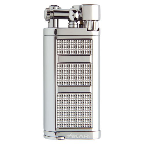 Xikar Pipeline Pipe Lighter, Replaceable Flint Ignition System, Hinged Ignition Cover, Refillable, Silver