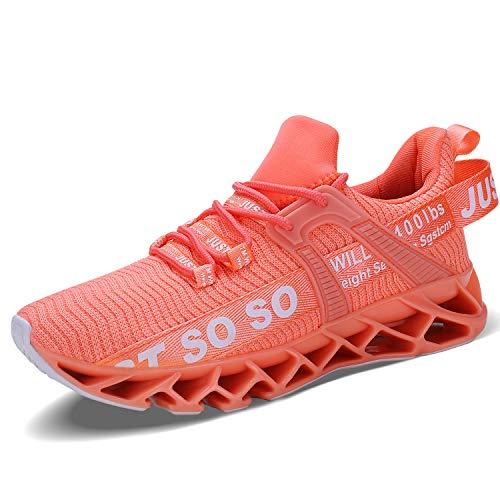 JSLEAP Women Sneakers Fashion Casual Monochrome Running Sports Slip Shock Absorption Breathable Walking Shoes, Orange Pink, 8 UK