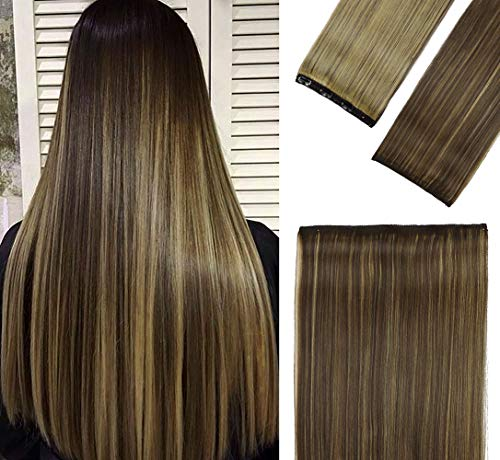 Sué Exquisite 4PCS 20 inches Long Straight Thick Hair Pieces Chocolate Brown mix Caramel Blonde Clip in on Hair Extensions Synthetic Fiber Double...
