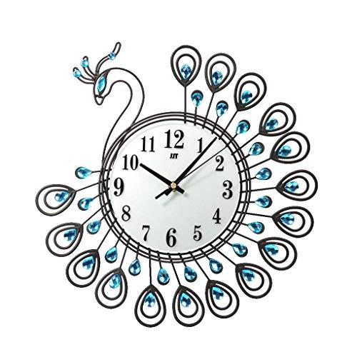 Lidahaotin Grand Paon de Cristal Horloge Murale en métal Strass Aiguille numérique Hanging Montre Salon Décoration Noir