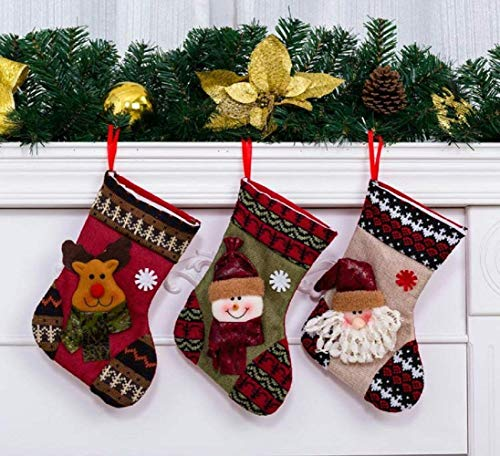 "OLES 3Pcs 9.4"" Christmas Stocking Set Santa Claus Candy Bag Gift Packing/Hanging Ornament Socks with Santa Claus Snowman and Elk Style for Xmas Tree Decoration"