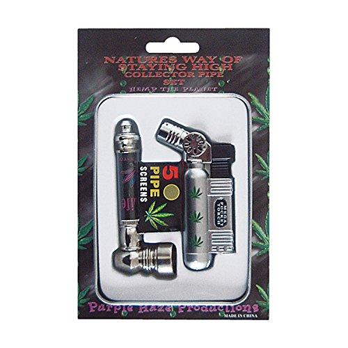 NASS® Feuerzeug-Set High Life I Tabakpfeife, Wasserpfeife I Siebchen I Brenner, Feuerzeug I Blechdose