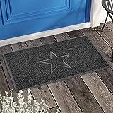 Nicoman Spaghettimatten Fußmatte für den Eingangsbereich|Robuste Schmutzfangmatte aus Vinylschlingen|Innen und Aussen | Geprägt Star【60x40cm, Klein】,Grau - 3
