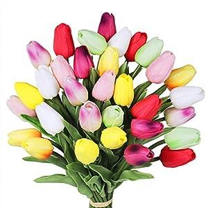 Silk Flower Arrangements Supla Single Stem 20 Heads Artificial Tulips Real Touch PU Tulips Flowers Arrangement Bouquet Home Room Office Centerpiece Party Wedding Decor White