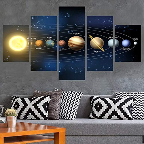 Shentop Poster Frame Art Painting Home Decor Living Room 5 Panel Nine Planets In The Solar System Modular HD Print Canvas Wall Picture-Marco