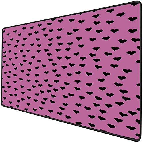 Alfombrilla de ratón Funcional para juegos Alfombrilla de ratón de escritorio resistente al agua gruesa de color rosa fuerte Inspirado en el día de San Valentín Mini corazones negros sobre fondo fucsi
