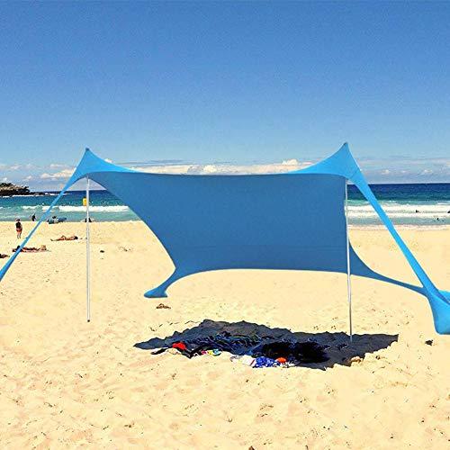 Wapern Tenda da Spiaggia con Tettuccio Parasole 210 * 210 * 160cm Portatile Ombrellone Vela Parasole Anti UV con Ancoraggio Sacchetti di Sabbia per Il Mare, Camping e Outdoor