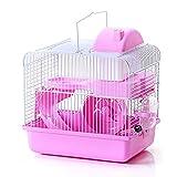 TuVN Jaula de hámster rosa, jaula de ratón rosa, jaulas de hámster, ayuda a que el ratón tenga un ambiente cómodo y seguro para hámster, jerbo, chinchilla, conejo u otros animales pequeños
