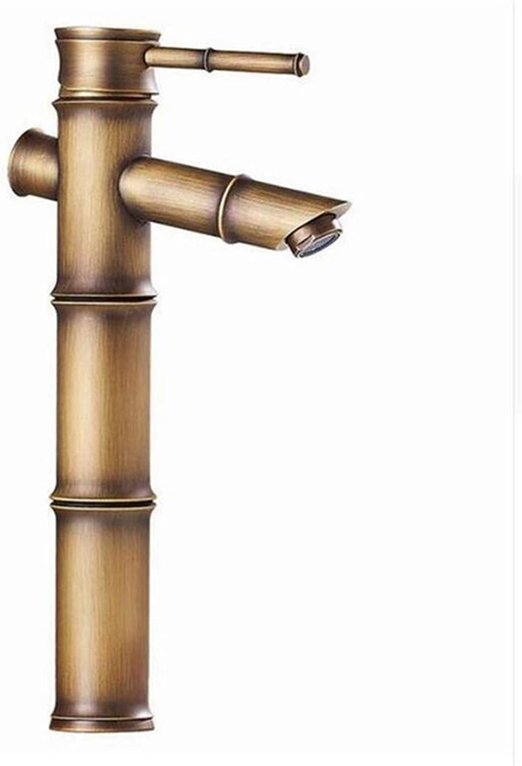 Vintage Brass 360 Degree redation Basin Faucet All Copper Hot and Cold Mixed Water Basin Hot and Cold Tap Bamboo Faucet