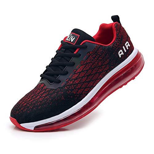 TORISKY Sneaker Herren Damen Sportschuhe Cushion Schuhe Laufschuhe Luftkissen Turnschuhe Fitness Gym Leichtes Bequem(8998-BK/Red43)