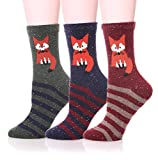 LJ Sport Tiere Design Socken Damen Mädchen Wolle Socken Soft Casual Socken 3 Paar Packung (stripe fox)