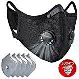Dust mask with Filter,Sports Face Mask, 5 Filters and 2 Valves Included,Men's and Women's Universal Masks,Suitable for Woodworking, Outdoor Activities(Black with Logo)