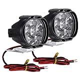 rongweiwang 2pcs / Set de la Motocicleta del LED luz Motocicleta LED Spotlight Externa 6 LED 8W 6500K 1000LM Luz Kit de reemplazo de Alta Brightenss
