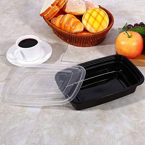 Contenitori impilabili per la preparazione dei pasti, 10 pezzi, 1000 ml, in resina di polipropilene (nero)