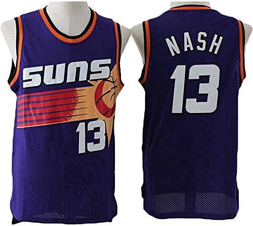 Maglia NBA da Uomo, Steve Nash # 13 Suns Fan Jersey Maglia da Basket T-Shirt con Ricamo Fine T-Shirt Senza Maniche Abbigliamento Sportivo,L