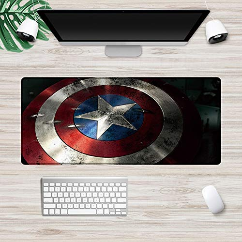 Mouse Pads Marvel Avengers Iron Man Large Size Locked Gaming Keyboard Desk Mat, Natural Rubber Non-Slip Bottom Sit (Color : F, Size : 700X300mm)