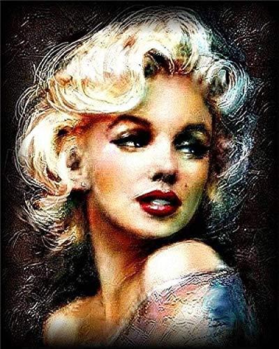 FNBN Malen Nach Zahlen Kits Digitale Malerei für Erwachsene und Kinder 40 * 50CM Ölgemälde Leinwand Künstler Hausdekoration Marilyn Monroe Holzstruktur