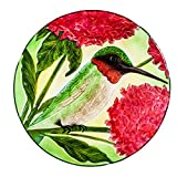 """Evergreen Garden 18"""" Hand Painted Embossed Glass Bird Bath, Hummingbird with Red Lupine Florals Garden Décor and Accessories for Home and Yard"""