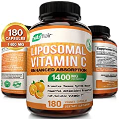 GROUNDBREAKING 1400MG, QUALITY-GUARANTEED LIPOSOMAL VIT C: Industry leading 1400 milligrams Liposomal Vitamin C Complex based on Liposomal technology; Each bottle contains 180 Vegetable Capsules (Plant-derived) for a full 3 months supply; Don't settl...