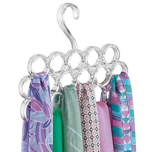 mDesign Schalbügel - für die organisierte Aufbewahrung von Schals und Tüchern in Ihrem Kleiderschrank - ideal als Schalhalter und Schalorganizer - 16 Schlaufen - Farbe: durchsichtig