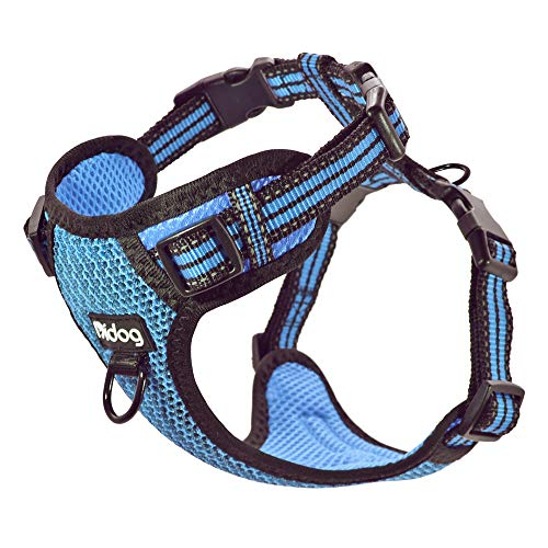 Didog No Pull Dog Vest Harness,Step-in Dog Harness with Soft Breathable Air Mesh,Reflective Escape Proof Harness for Walking Cat and Small Medium Dogs,Blue,Medium Size
