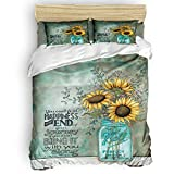Big buy store Sunflowers Leaves 4 Piece Duvet Cover Set Vintage Wall Blue Bed Sheets Quilt Cover for Kids/Adults Bedroom Decoration Queen Size