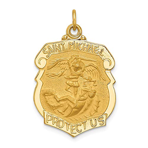 14k Yellow Gold Solid Large Saint Michael Badge Medal Pendant Charm Necklace Religious Patron St Fine Jewelry For Women Gifts For Her