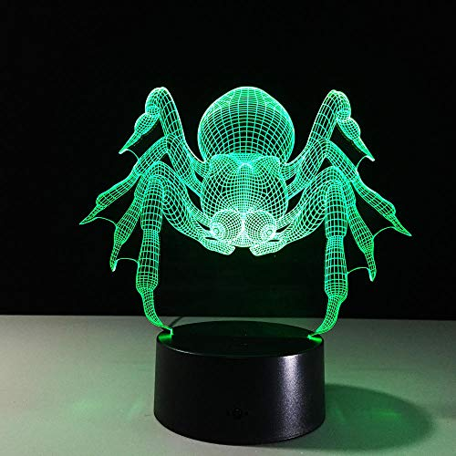 Wangzhongjie Araña 3D Luz De Noche Creativa Animal Ilusión Lámpara 3D Led 7 Colores Cambiantes Mesa De Escritorio Lámpara De Escritorio Para Niños Regalo De Navidad
