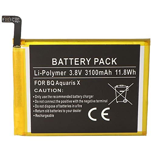 Batería para BQ Aquaris X, BQ 3100, batería de Iones de Litio, 3,8 V, 3100 mAh, Dimensiones 70,7 x 61,6 x 4,0 mm