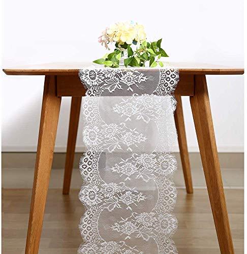 TINWARM - Runner da tavola in pizzo bianco, 35 x 300 cm, decorazione da tavolo per matrimoni, decorazioni per feste