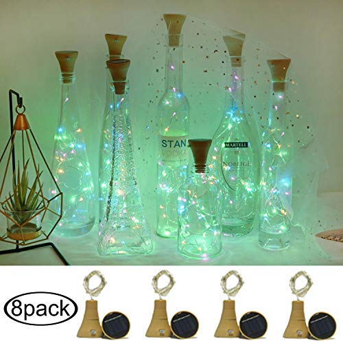 Cynzia 8 Pack Solar Powered Wine Bottle Fairy Lights(Bottle NOT Include), Waterproof 20 LED Lights Cork Shape String Copper Lights for Home Wedding Garden Pathway Decor (4 Colors)