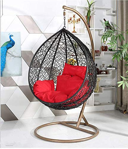 Furniture Kart Swing Chair with Stand, Cushion Black Color Outdoor/Indoor/Balcony/Garden/Patio (Large Swing)