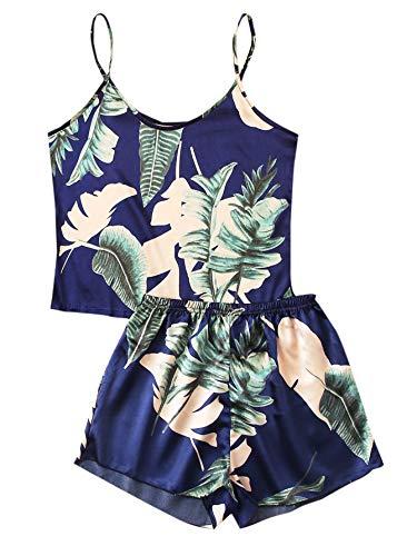 Floerns Women's Summer Palm Leaf Tropical Print Cami Sleepwear Pajama Set Blue L
