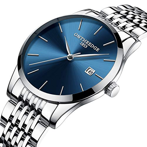 STM32 by ST Genuine Ultra-Thin Men's Stainless Steel Belt Quartz Men's Watch Calendar Waterproof Watch Wholesale Watch Watch-Thin 023 Steel with Blue Bottom and Silver Edge