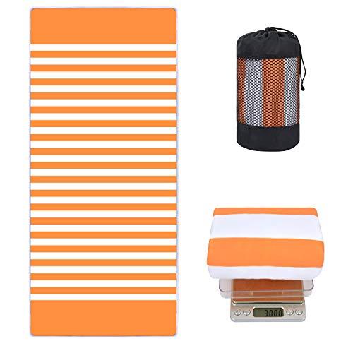 VIVOTE 80X180CM Microfibra Toalla de Playa Ligero Camping Viajes Deportes Toalla Toalla Absorbente Suave para Piscina, natación, baño, Yoga, Gimnasio, Entrenamiento, Ejercicio, Tiras de Naranja