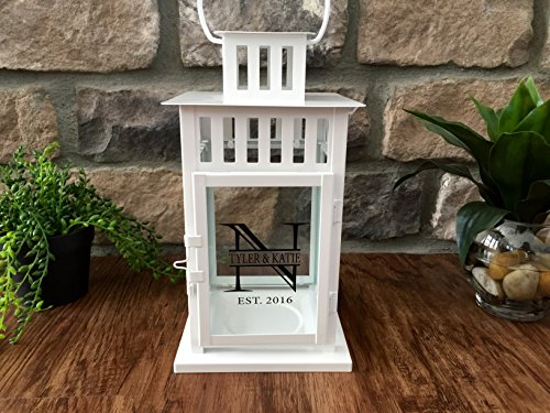 Personalized Decorative Candle Lantern 6x6x11 - Unique Wedding-Gifts for the Couple (White - Tyler & Katie Design)