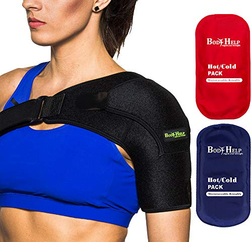 BODY HELP Shoulder Brace Support for Women&Men with 2 Hot Cold Reusable Packs for Immediate Pain Relief Left/Right Shoulder Best Wrap for Rotator Cuff, Arthritis, Bursitis
